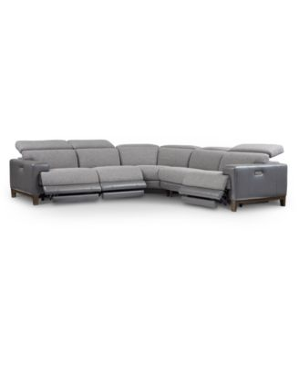 Madiana 5-Pc. Fabric and Leather Sectional with 3 Power Recliners, Created For Macy's