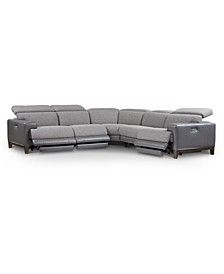 CLOSEOUT! Madiana 5-Pc. Fabric and Leather Sectional with 3 Power Recliners, Created for Macy's