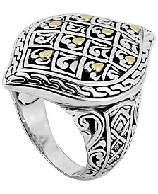 Dragon Skin Signature Ring in Sterling Silver and 18k Yellow Gold Accents