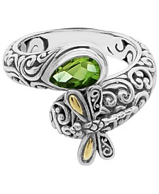 Peridot (1 ct. t.w.) Sweet Dragonfly Classic Ring in Sterling Silver and 18k Yellow Gold Accents (Also Available in Citrine)