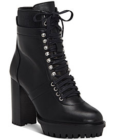 Vince Camuto Women's Ermania Lace Up Lug Sole Combat Booties