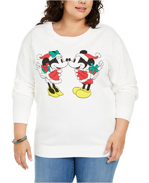Love Tribe Disney by Trendy Plus Size Mickey & Minnie Mouse Graphic-Print Sweatshirt