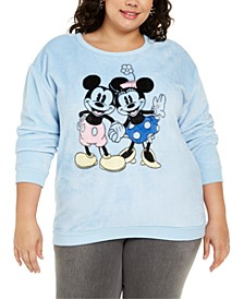 Disney by Trendy Plus Size Mickey & Minnie Mouse Graphic-Print Sweatshirt