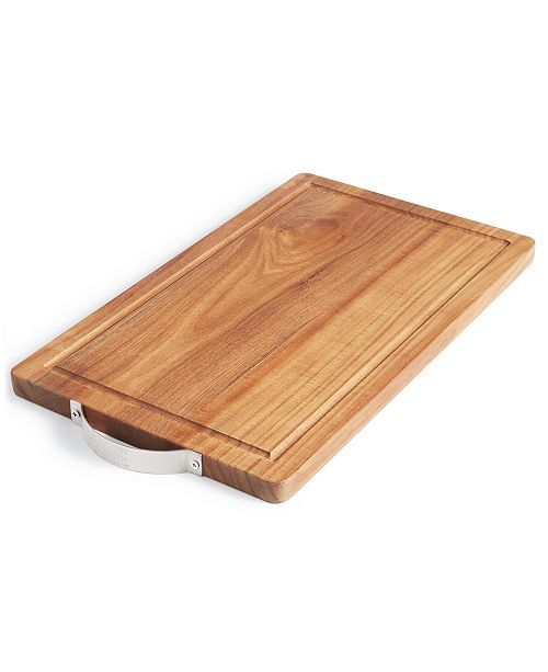 Martha Stewart Collection Wood Cutting Board with Stainless Steel Handle, Created For Macy's