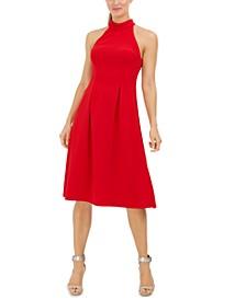 Mock-Neck Fit & Flare Dress