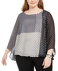 Plus Size Printed Angel-Sleeve Bubble Top, Created For Macy's