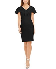 Tie-Front Capelet Sheath Dress