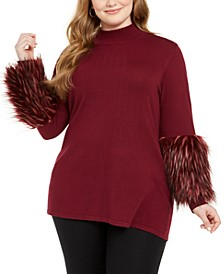 Plus Size Faux-Fur-Cuff Mock-Neck Tunic Sweater, Created for Macy's