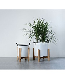 White Planters on Wood Stands, Set of 2