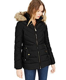 Michael Michael Kors Hooded Faux-Fur-Trim Down Puffer Coat, Created for Macy's
