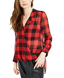 Metallic Plaid Surplice High-Low Tunic Top, Created For Macy's