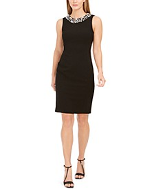 Faux-Pearl-Trim Sheath Dress