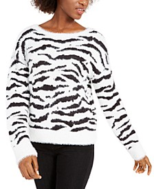 Zebra-Stripe Eyelash Sweater, Created For Macy's