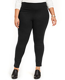 Style & Co Plus Size Wide-Waistband Ponté-Knit Leggings, Created for Macy's