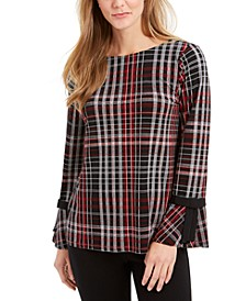 Plaid Contrast-Trim Top, Created For Macy's