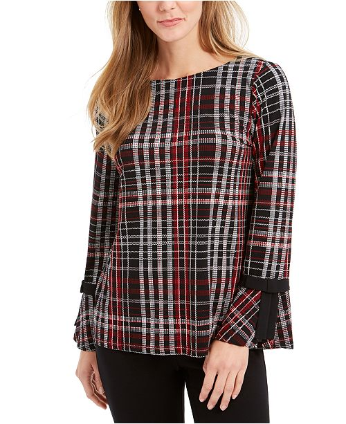 Charter Club Plaid Contrast-Trim Top, Created For Macy's
