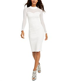 Juniors' Illusion-Mesh Sweater Dress
