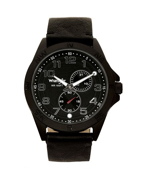 Wrangler Men's Watch, 48MM IP Black Case, Compass Directions on Bezel, Textured Black Dial, White Arabic Numerals, Multi Function Date and Second Hand Subdials, Black Faux Leather Strap
