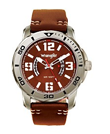 Wrangler Men's Watch, 48MM Silver Colored Case with Black Printed Arabic Numerals on Outer Steel Bezel, Brown Dial with Dual Crescent Windows, Date Window , Brown Strap with White Accent Stitch Analog