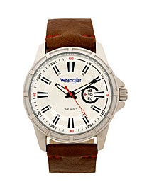 Men's Watch, 46MM Silver Colored Case with Cutout Bezel, Silver Milled Dial with White Index Markers, Analog. Red Second Hand and Cutout Crescent Date Function, Brown Strap with Red Accent