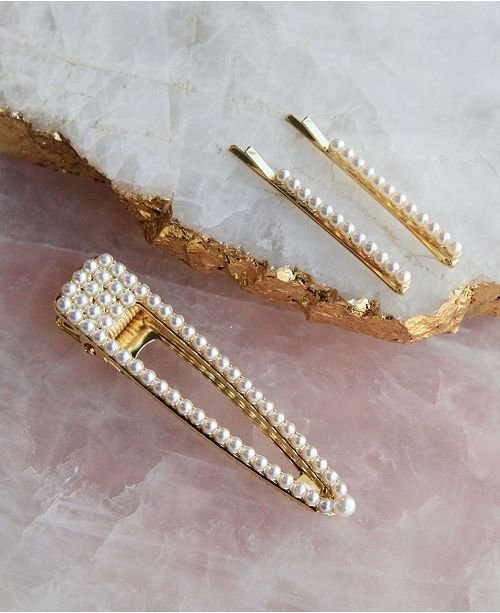 Soho Style String of Pearls Bobby Pin and Hair Clip 3 Piece Set