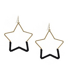 Suede Wrapped Star Earrings