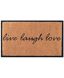 """Non- Slip Coco Live Laugh Love Doormat, 18"""" x 30"""""""