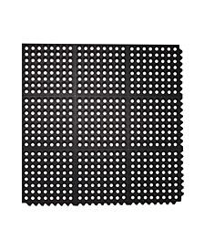 "All Purpose Interlocking Commercial Anti Fatigue Rubber Floor Mat, 4 Pack, 36"" x 36"""