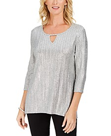Petite Metallic Ribbed Keyhole Top, Created For Macy's