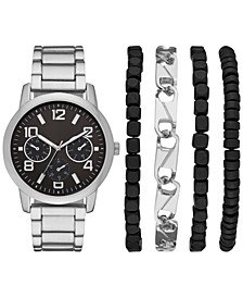 Men's Silver-Tone Bracelet Watch 44mm Box Set
