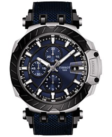 Men's Swiss Automatic Chronograph T-Race Black Rubber Strap Watch 48.8mm