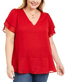 Plus Size Textured-Dot Ruffled-Sleeve Top
