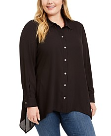 Plus Size Handkerchief-Hem Button-Up Shirt