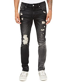 Men's Skinny-Fit Paneled & Destroyed Jeans