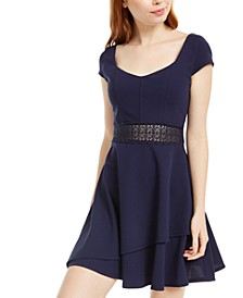 Juniors' Lace-Waist Dress