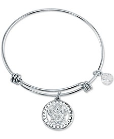 Crystal Paw Charm Bangle Bracelet in Stainless Steel