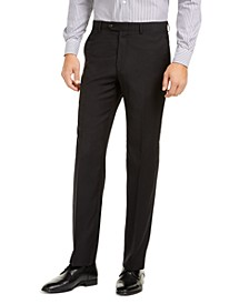 Men's Slim-Fit UltraFlex Stretch Black Solid Suit Pants