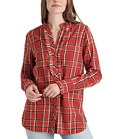 Audrey Ruffle Plaid Tunic Shirt