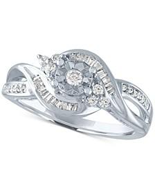 Diamond Baguette Swirl Promise Ring (1/4 ct. t.w.) in Sterling Silver