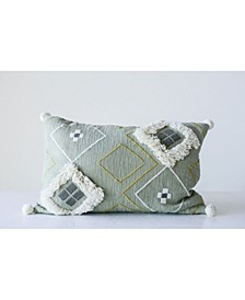 Sage Green Pillow with White Decorative Fringe