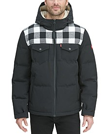Men's Quilted Mix-Media Puffer Jacket with Fleece-Lined Hood