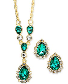 "Gold-Tone Crystal and Stone Pear Halo Lariat Necklace & Stud Earrings Set, 17"" + 2"" extender, Created For Macy's"