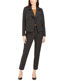 Plaid Moto Jacket, Crewneck Top & Pintucked Pants