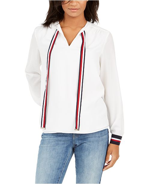 Tommy Hilfiger Contrast Tie-Neck Top