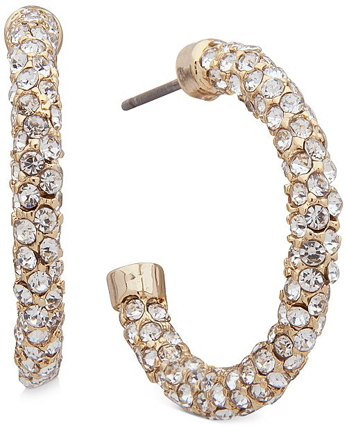 Lauren Ralph Lauren Gold-Tone Pavé Crystal Small Hoop Earrings 1""