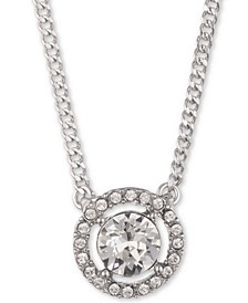 "Crystal Halo Pendant Necklace, 16"" + 3"" extender"