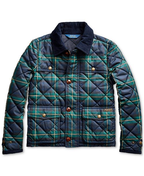 Polo Ralph Lauren Big Girl's Tartan Quilted Barn Jacket