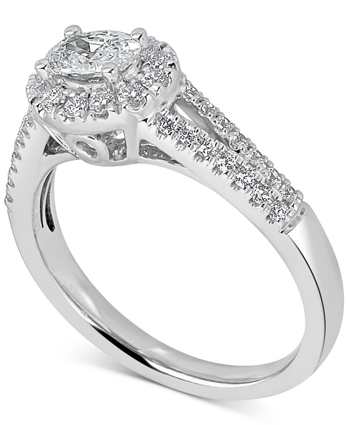 Macy's - Diamond Oval Halo Engagement Ring (3/4 ct. t.w.) in 14k White Gold