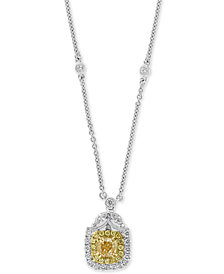 "EFFY® HEMATIAN Diamond (1-1/2 ct. t.w.) Two-Tone Halo 18"" Pendant Necklace in 14k White Gold"