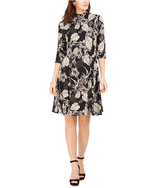 Robbie Bee Petite Floral-Print A-line Dress